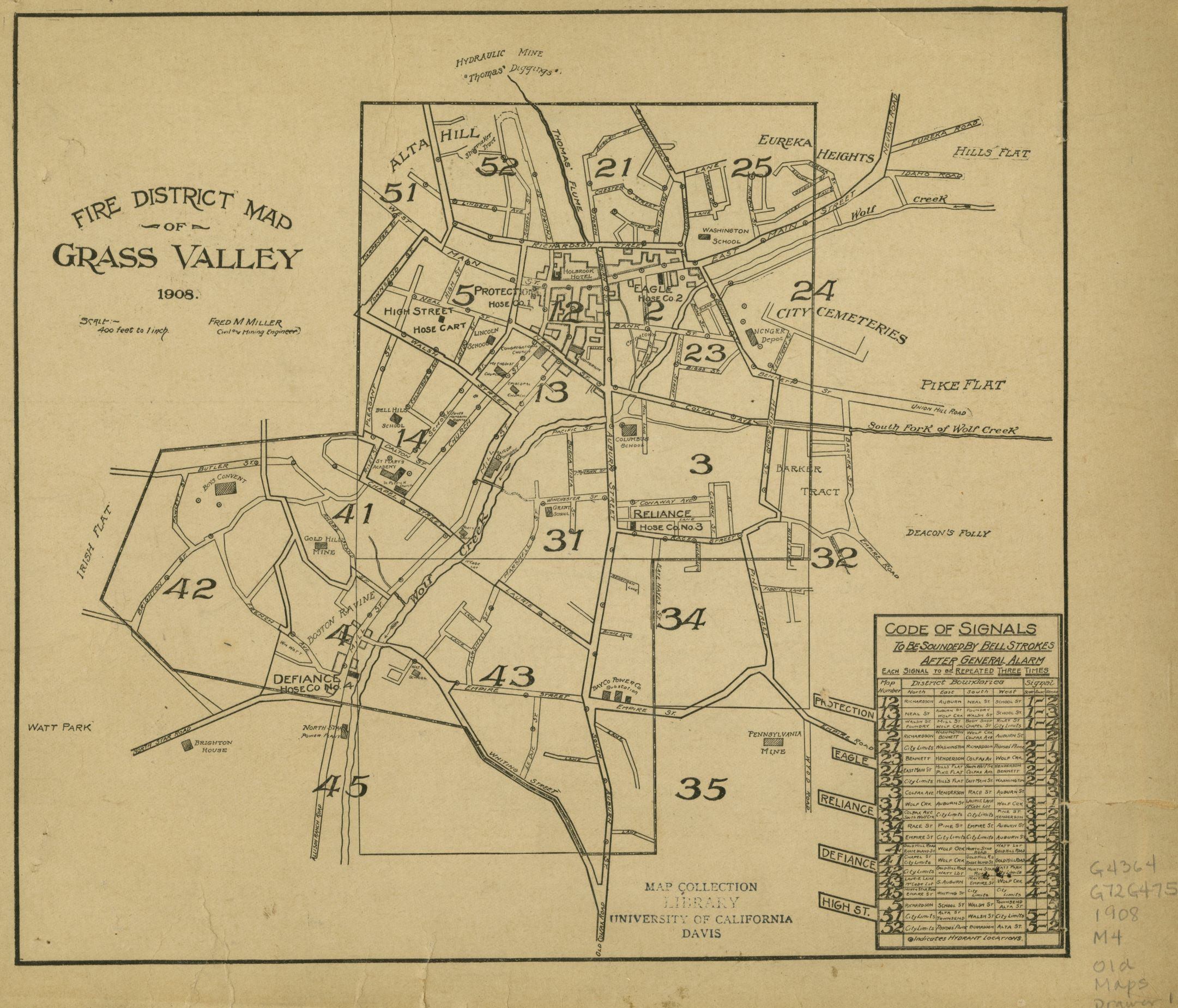 Grass Valley Fire Districts Map from 1908